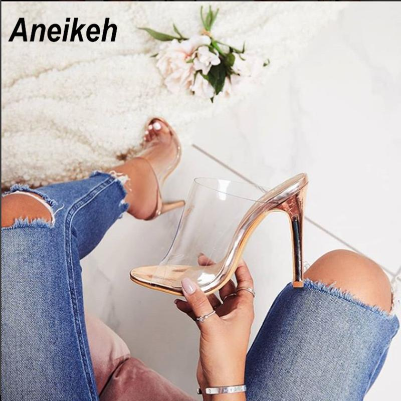 Aneikeh Women Pvc Sandals 2019 Fashion Champagne High Heeled Women Mules Sexy Thin Heel Shoes Open Toe Sandals Slippers Pumps MX190727