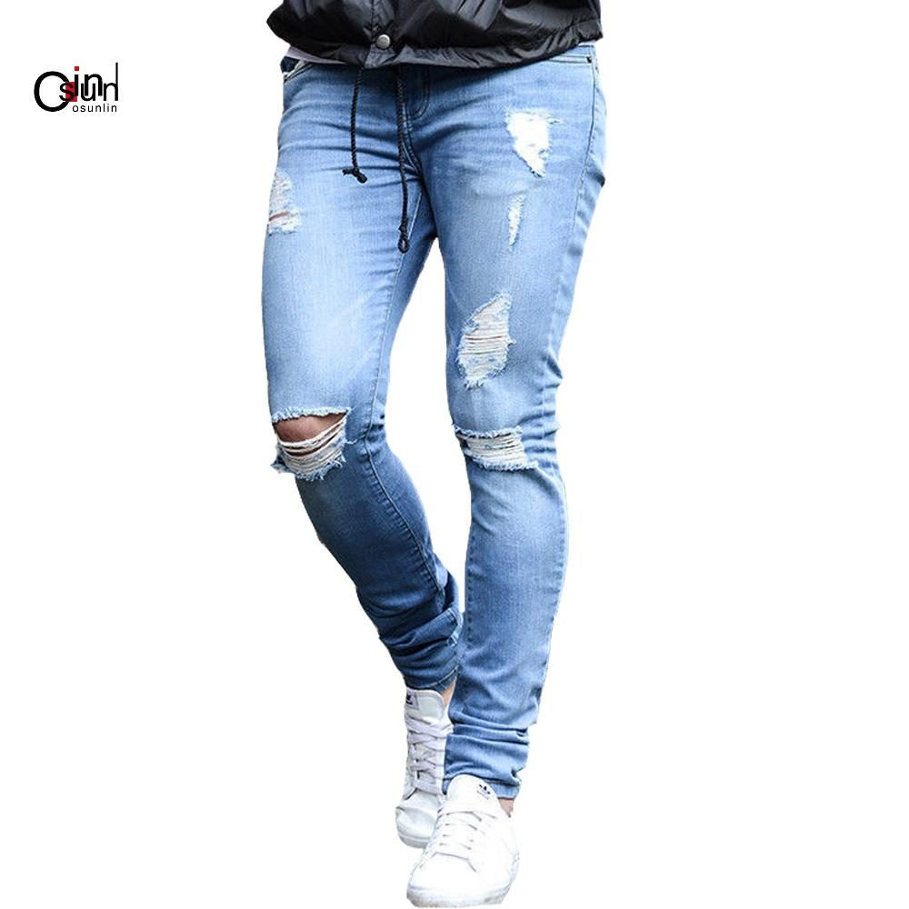 c6edaca5b1 Osunlin Mens Skinny Jeans 2019 Super Skinny Jeans Men Hole Stretch Denim  Pants Elastic Waist Big Size Homme Hip Hop Frayed Pants