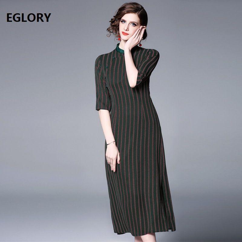 9ddf1737 Top Quality Qipao Dress 2019 Spring Summer Vintage Party Women Striped Print  Half Sleeve Mid Calf Length Bodycon Dress Female Night Dresses Casual Dress  ...