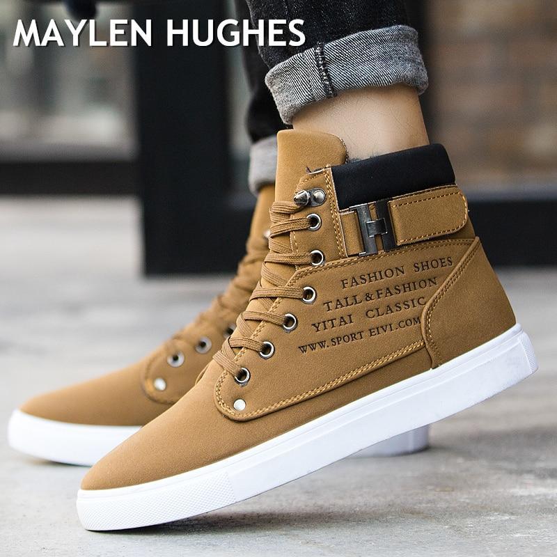 Compre 2018 Hombres Calientes Botas Moda Invierno Cálido Nieve Botas  Hombres Zapatos Otoño Cuero Calzado Para Hombre Nuevo Alto Superior Lienzo  Zapatos ... eab7f2aef48