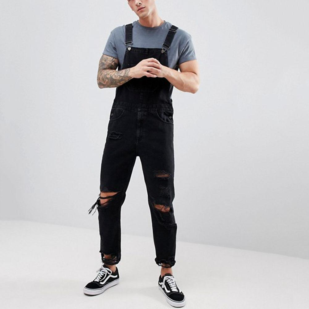 DIAOOAID 2019 Men Solid Color Pocket Fashion Jumpsuit Overalls Loose Streetwear Casual Personality Male Quality Denim Trousers