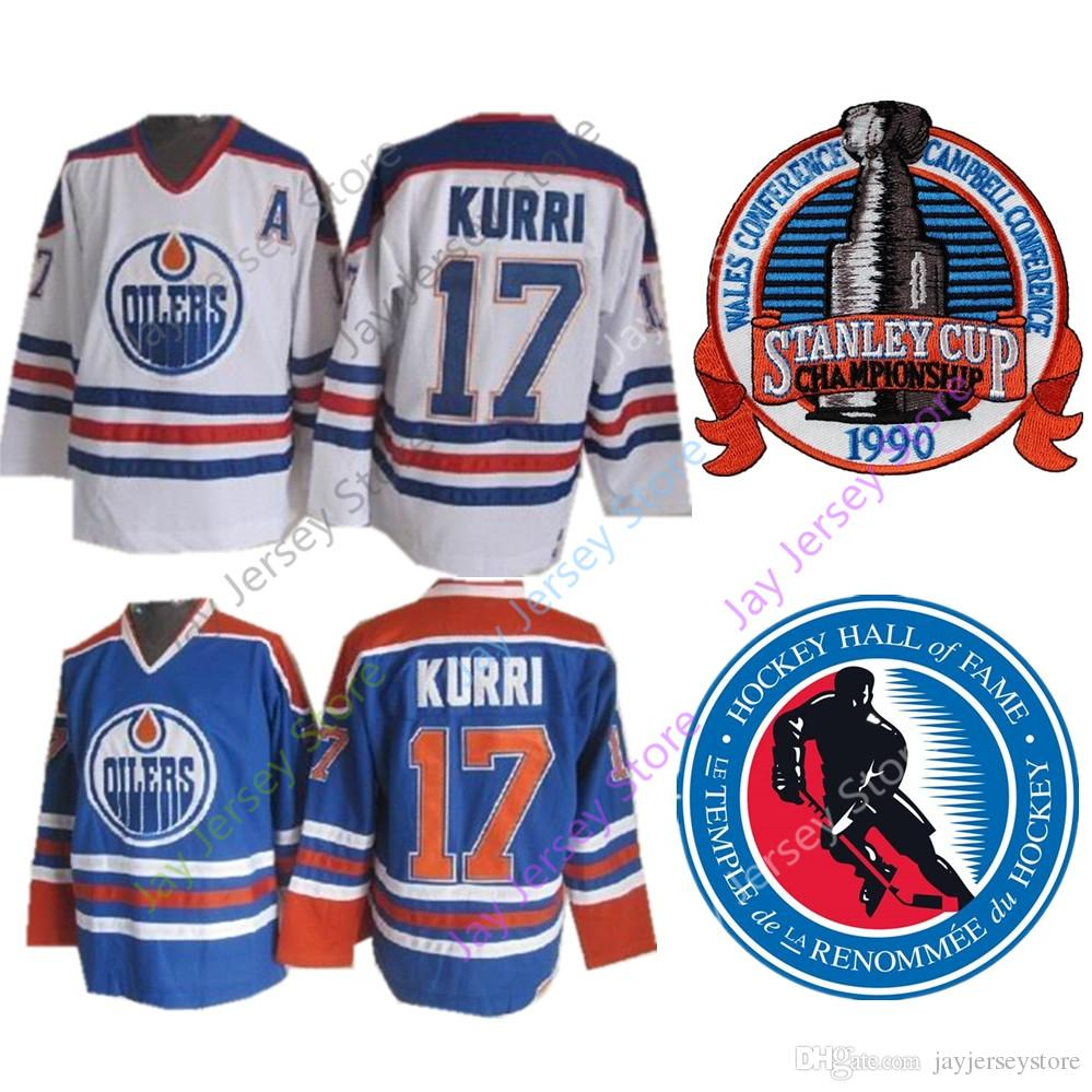 17 Jari Kurri Jersey 1990 Stanley Cup Ice Hockey 2001 Hall Of Fame Patch  Edmonton Oilers Jerseys CCM Home Away Mike Trout Jersey Online with   36.69 Piece on ... fa73c2d0f