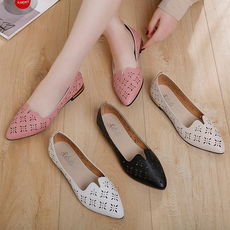 01013b1507540 Women Flats 2019 Summer Shoes Woman Slip on Shoes Cut Out Flats Hollow Boat  Pointed Toe Ballet Falts Ladies N7226