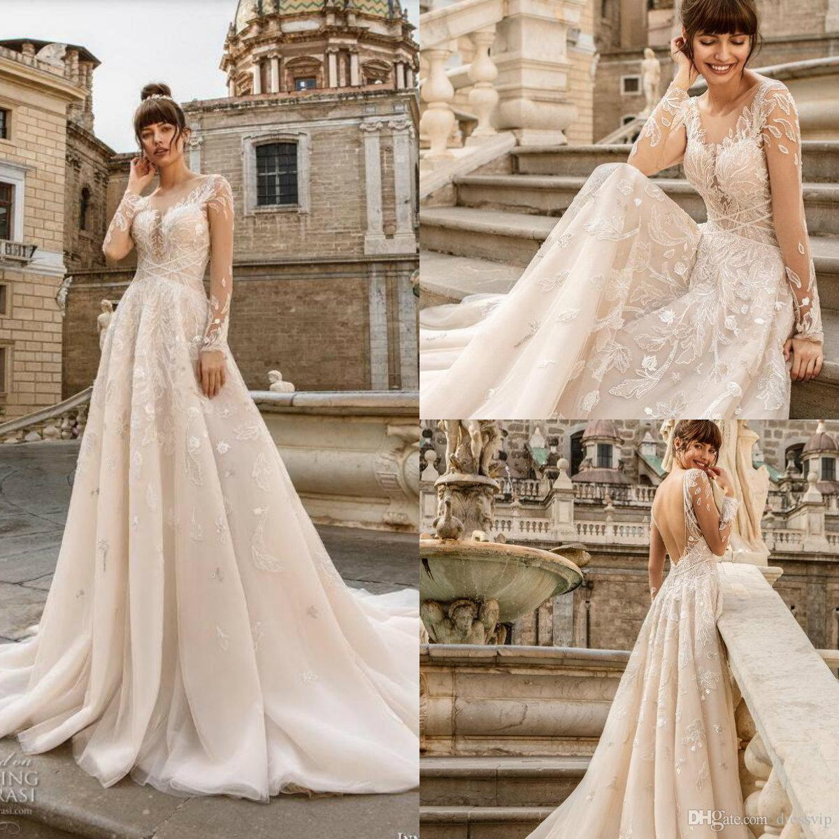 2019 Lace Boho Wedding Dresses Jewel Neck A Line Appliqued Sweep Train  Bohemian Wedding Dress Plus Size Country Beach Bridal Gowns