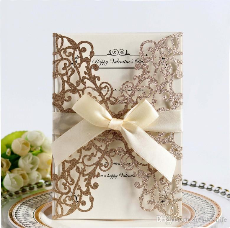 New Rose Laser Cut Hollow Flower Gold Sequins Wedding Invitations Cards with Crystal Personalized Bridal Invitation Card Cheap