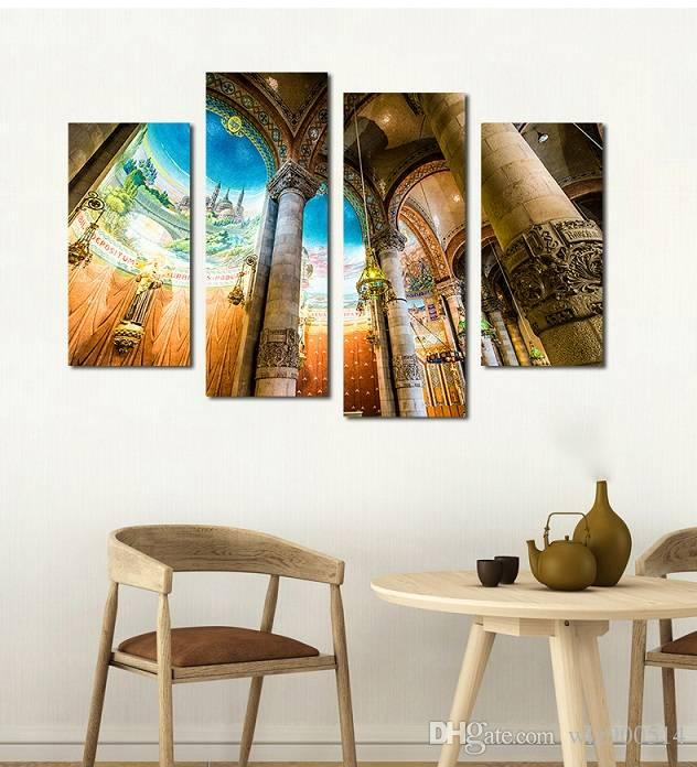 4pcs/set Unframed Inner View of the Church Print On Canvas Wall Art Picture For Home and Living Room Decor