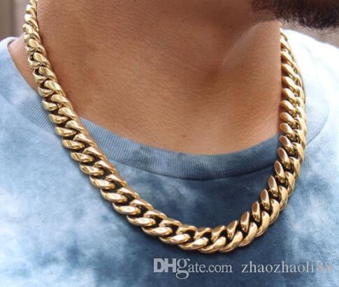 14k Gold Electro Plated Thick Heavy Men's Gold Cuban Link Chain Necklace