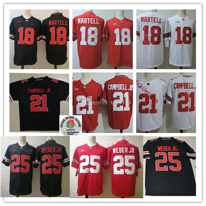 brand new eb4db 9a192 Mens Ohio State Buckeyes Tate Martell Football Jerseys #21 Parris Campbell  JR. #25 Mike Weber Jr. Ohio State Buckeyes Jersey S-3XL