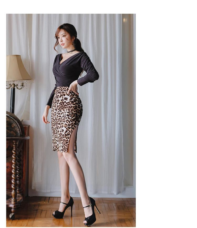 Cheap Spring Wear 2019 Korean Women V,neck Long Sleeve Black Jacket Leopard  Print Half,length Skirt Two Pieces Set Fitting Dress QC0130