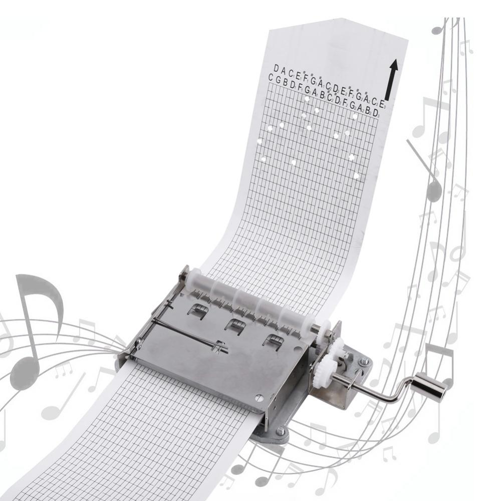30-note Hand Crank Mechanical Musical With Hole Puncher 3 Strips Tapes  Creative Diy Wooden Music Box New Year Q190604