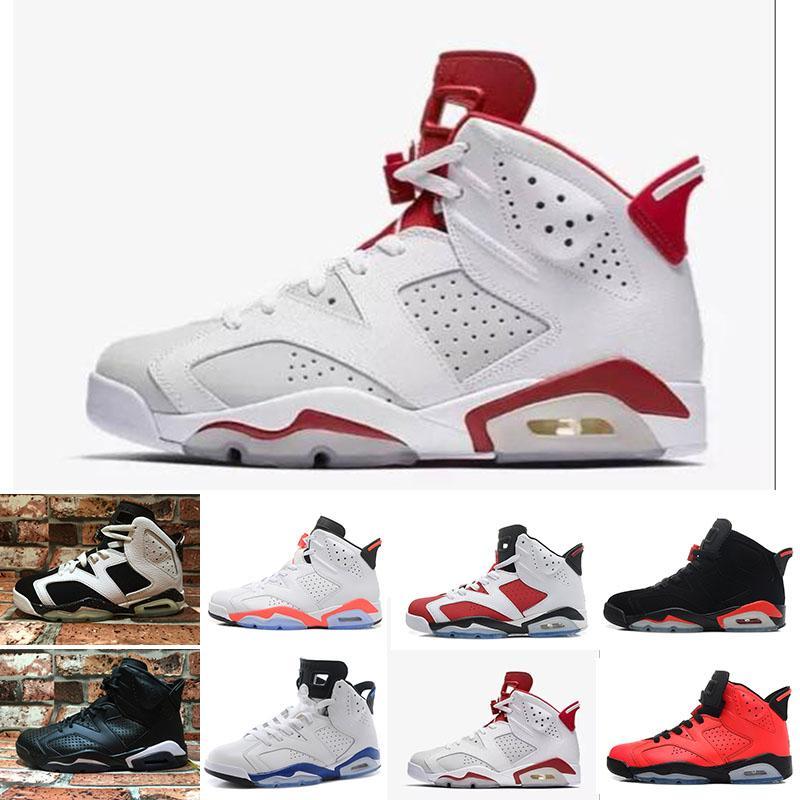 b7732771699 Compre Nike Air Jordan 1 4 6 11 12 13 2019 6 S Classic 6 Alternate Carmim  Preto Branco Infravermelho Baixo Chrome Tênis De Basquete Oreo CNY Versão  De ...
