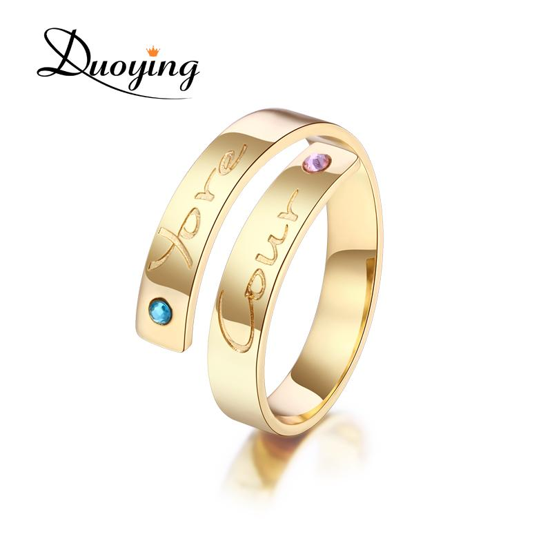 Duoying 4 mm Bar Rings Birthstone Set Custom Name Love BBF Rings for Etsy  Personalized Unique Engraved Name Jewelry Simple Rings
