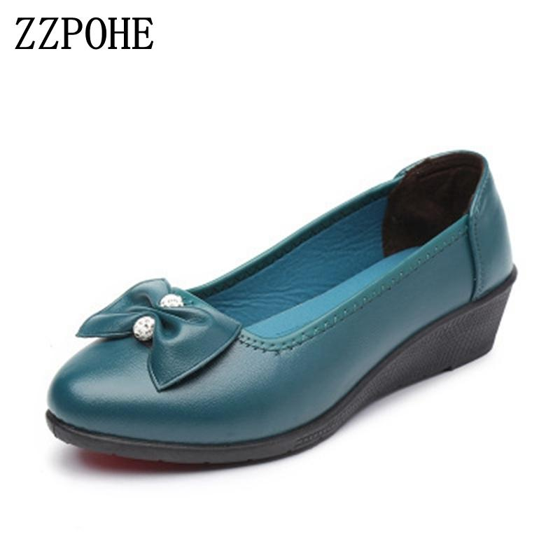 Designer Dress Shoes ZZPOHE Spring Autumn new women leather work mothers fashion soft leisure single comfortable large size ladies