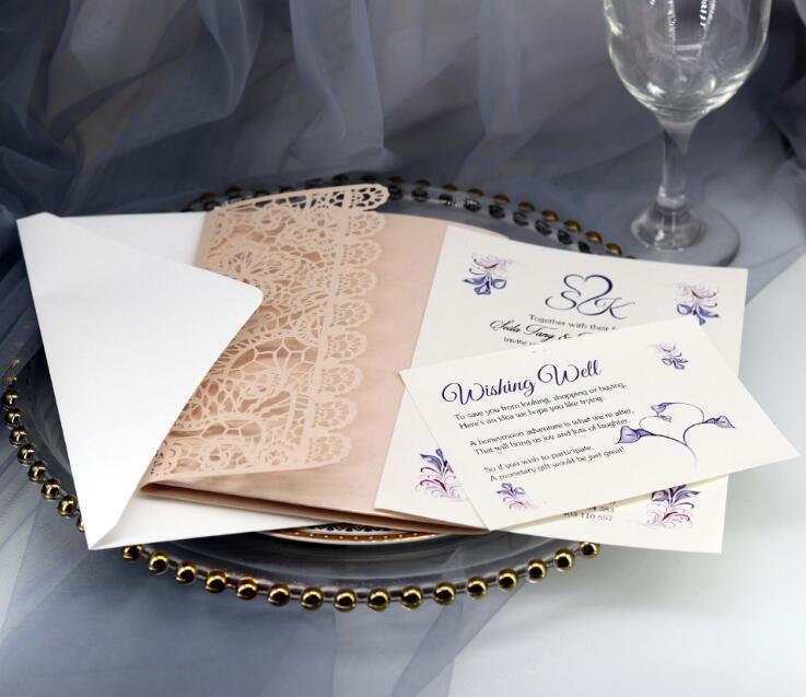 Tri-fold carte Invito a nozze con gli inviti del partito tasca tagliato al laser busta scavano fuori l'impegno laureato compleanno biglietto di auguri