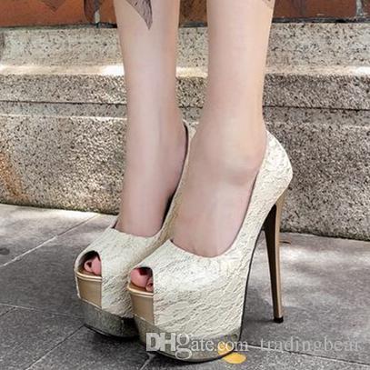 Elegant ivory lace wedding shoes 2 ways platform ultra high heels women designer shoes 16cm size 35 to 40