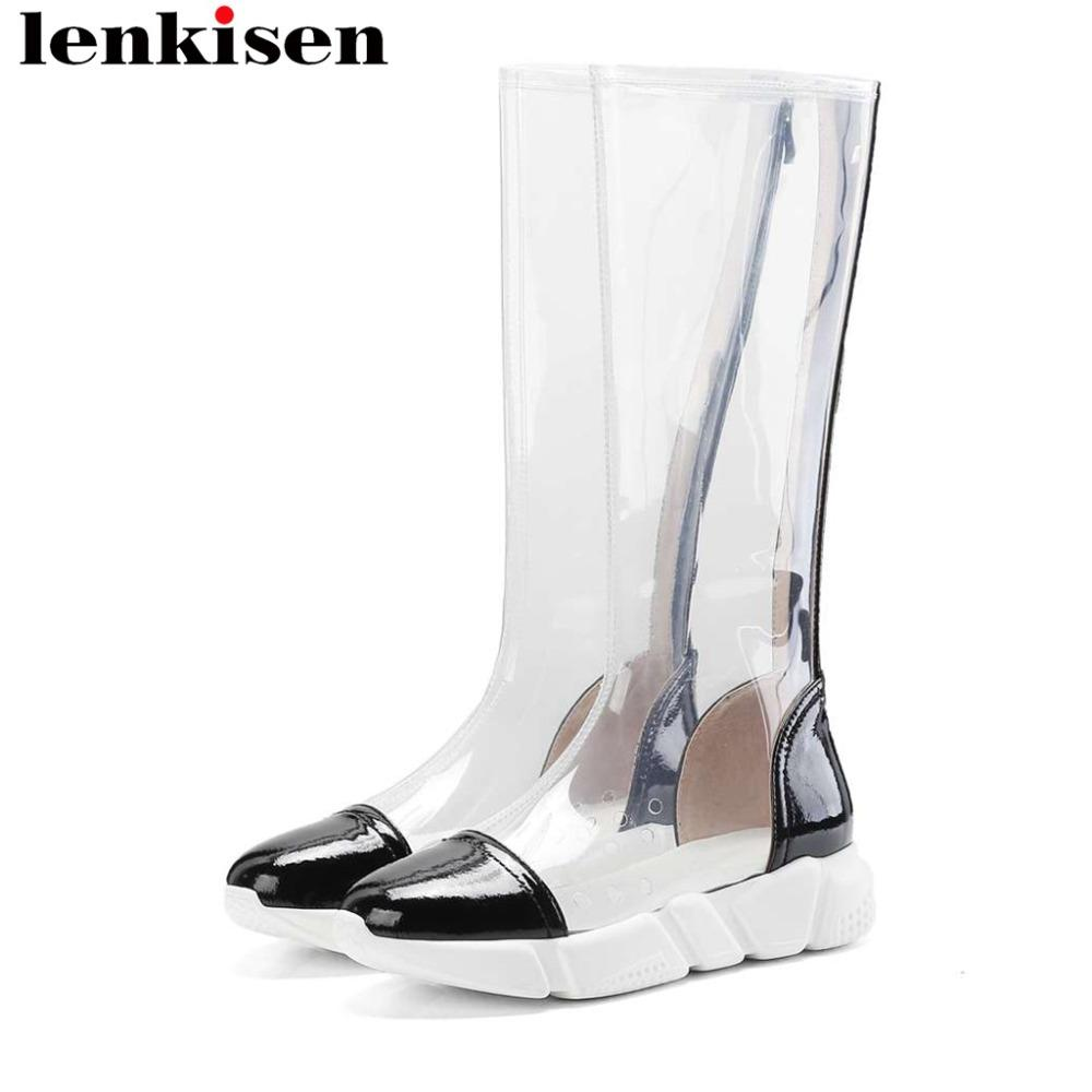 f5141bc499e 2019 Spring Fashion Rock Girls Transparent Pvc Knee High Boots Natural  Leather Zipper Round Toe Plus Size Daily Wear Boots L00 Slipper Boots Ankle  Booties ...