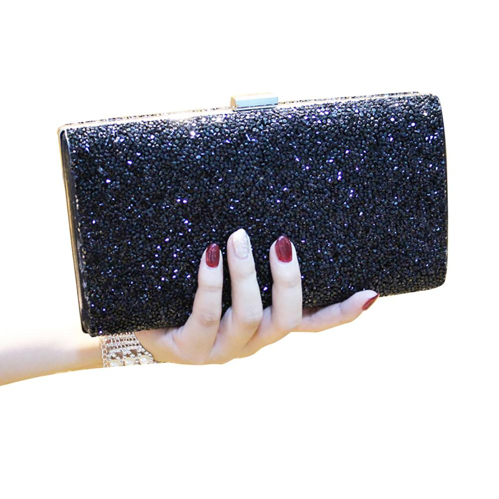 Women Storage Wedding Purse Evening Party With Chain Gift Diamante Solid Clutch Bag Carrying Shiny Universal Hasp Polyester