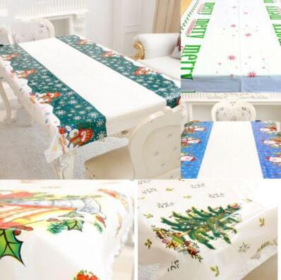 6 Styles 108*180cm Christmas Tree Table Cloth Snowman Santa Claus Tablecloth Xmas Table Cover Christmas Decorations CCA10798 100pcs