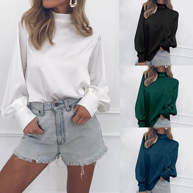 02ff7347386 2019 Blouse 2019 Fashion Elegant Long Sleeve Shirt Lantern Sleeve Top  Casual Loose Ladies Blouses And Tops Party Blusas Mujer From Jamie15