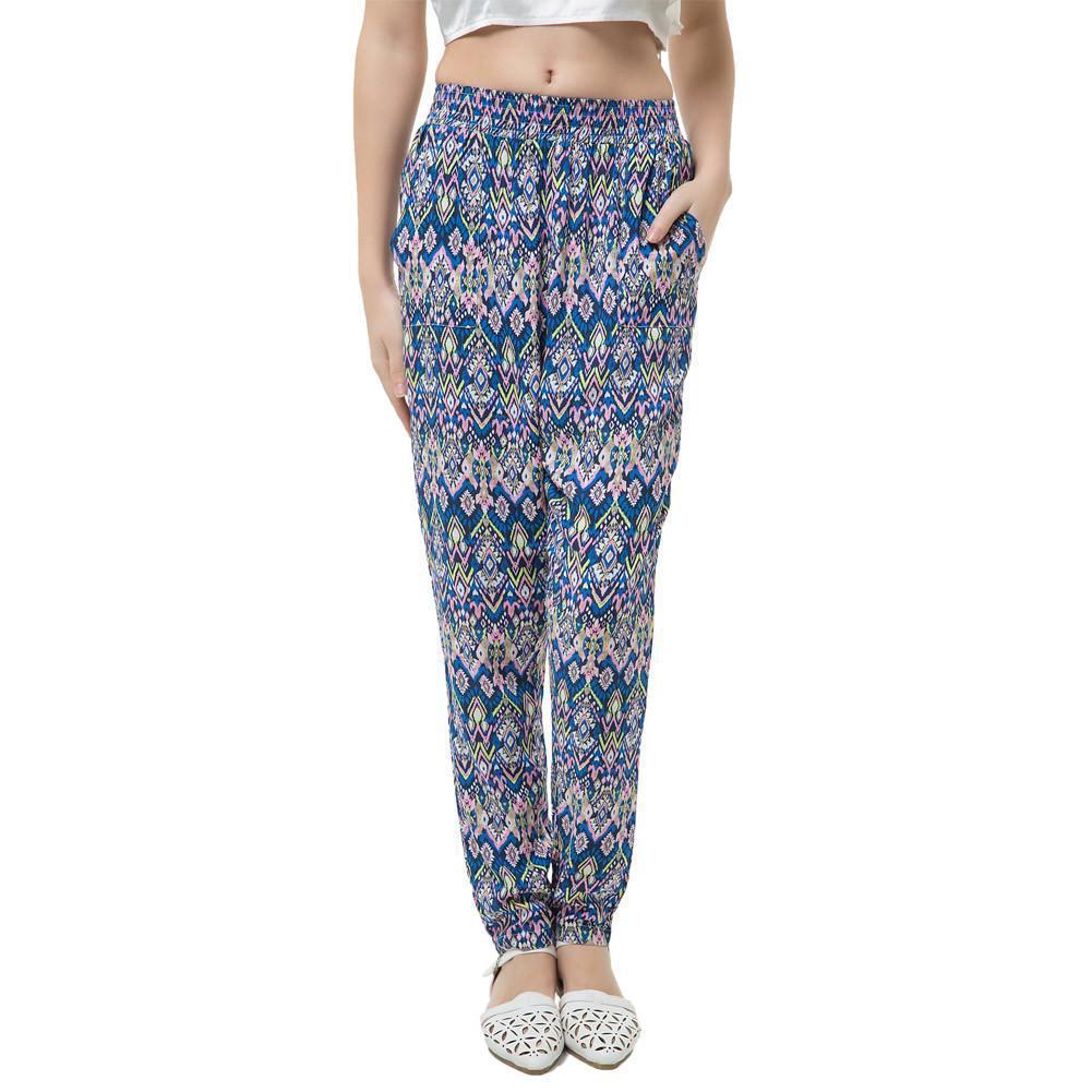 485d76507f Compre 2019 Otoño Mujeres Pantalones Harem Elegantes Señoras Pantalones  Estampados Geométricos Cintura Elástica Bolsillos Pantalones Sueltos Causal  Bohemio ...