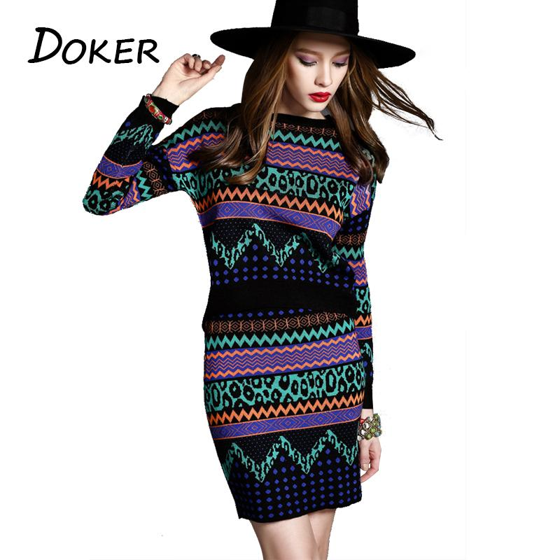 04f2b1a97 2019 mujeres del otoño de punto falda suéter 2 unids trajes o-cuello de  manga larga patrón de onda suéter femenino Tops y faldas conjuntos de ...