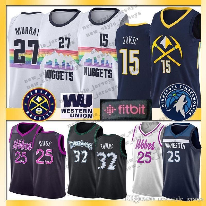buy popular 899bf c8ab1 Men Rose Minnesota 25 Derrick Timberwolves Jokic 15 Nikola Murray Denver 27  Jamal Nuggets Basketball Jerseys