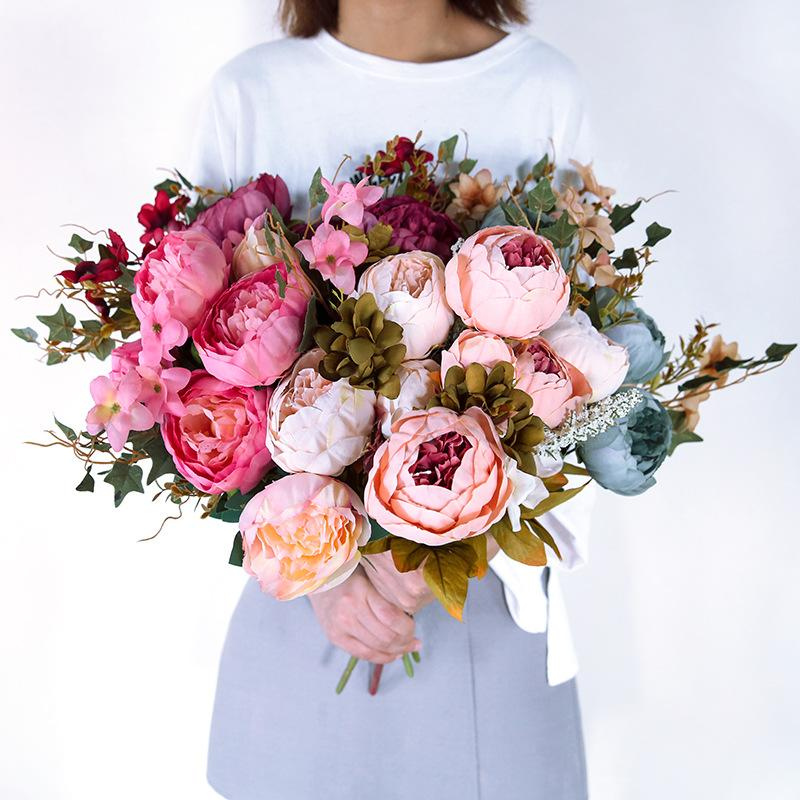 2019 2018 Ins Hot Sale Artificial Flower Blush Silk Peony Flowers