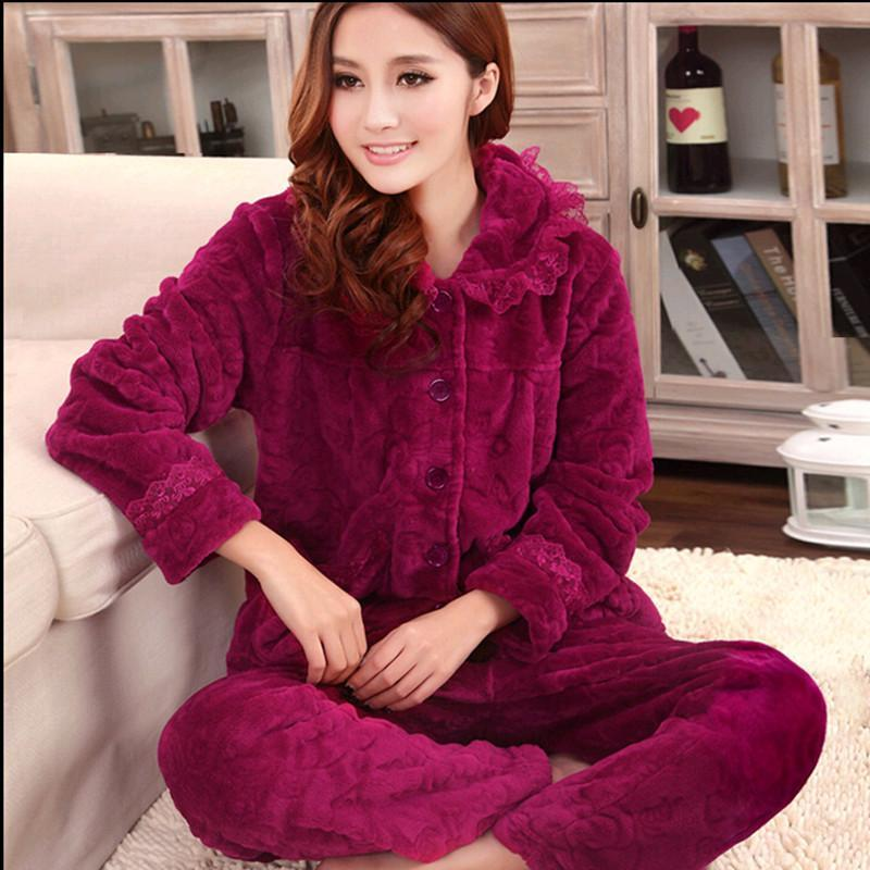 2019 Autumn And Winter Coral Fleece Sleepwear Women Thickening Flannel  Pajama Sets 2a9013c98
