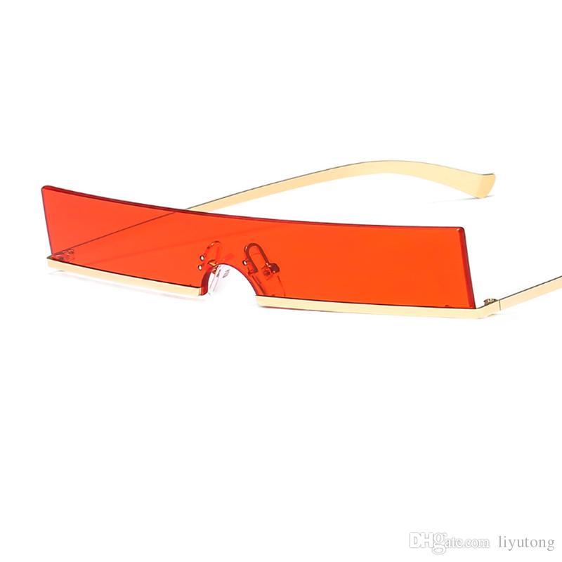 be527356b040f ... Óculos De Sol Das Mulheres Designer Quadrado Ladies Frame Pequeno Preto  Vermelho Óculos De Sol Da Marca Retro Fino Eyewear Óculos Sem Aro De  Liyutong