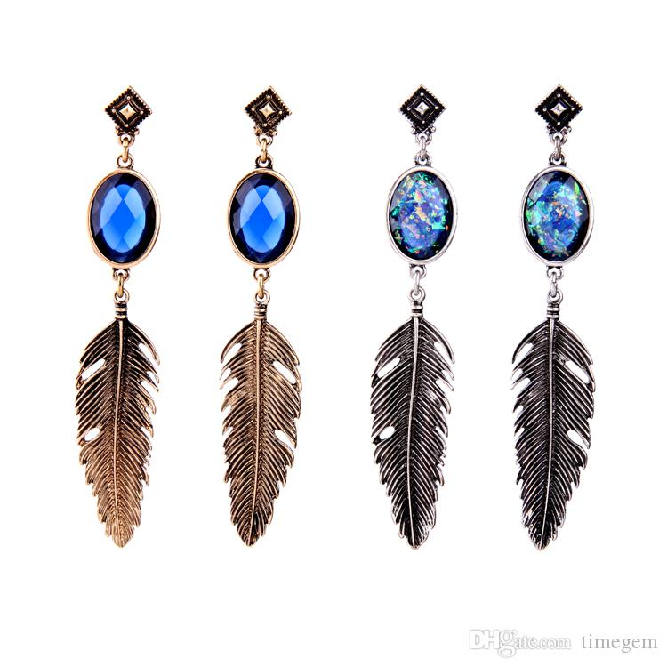 European and American Popular and Trendy Vintage Warrior Feather Element Alloy Rhinestone Long Dangle Stud Earrings E5446