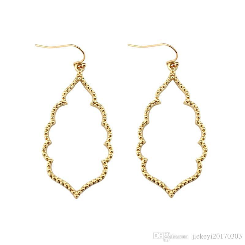 c853211c32 LET IT BE Wholesale Brand KS Gold Filigree Teardrop Hexagon Earrings for  Women Fashion Oval Hook Earrings Jewelry 2017