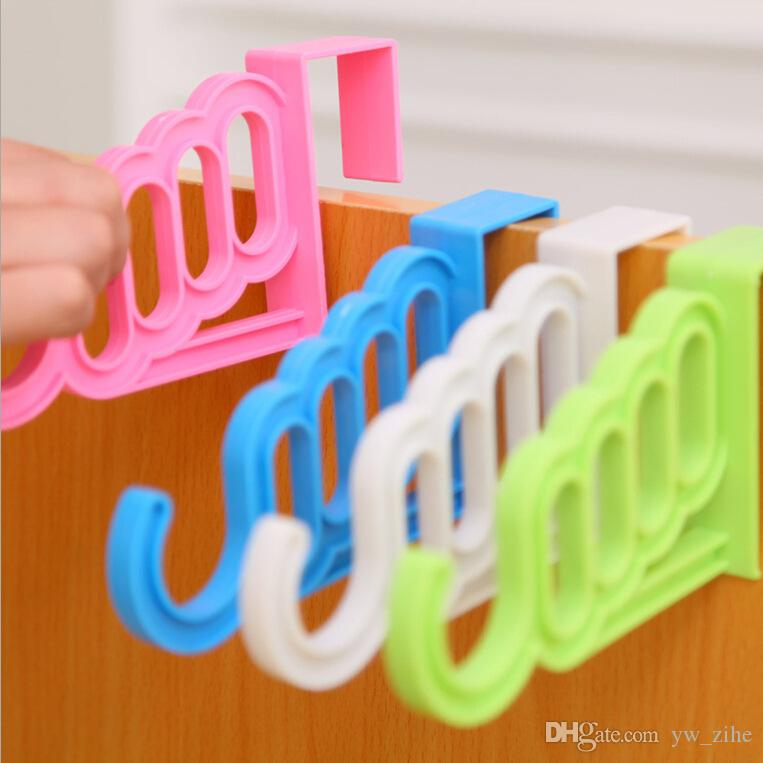 Multi-Function Home Accessories Foldable Clothes Hanger Drying Rack 5 Hole Suit Bathroom Door Plastic Organizer wh0411