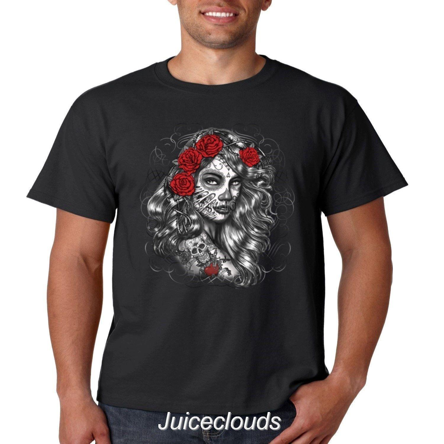 c5df5091 Sugar Skull T Shirt Red Rose Day Of The Dead Girl Tattoo Men'S Tee Fashion T  Shirts Print Shirt From Space84, $11.48  DHgate.Com