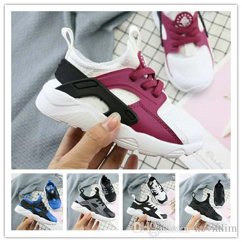 3de4c107d83 2019 New Kids Air Huarache 4 Sneakers Shoes For Boys Girls Authentic All  White Children Trainers Huaraches Sport Running Shoes Size 28 35 Track  Spikes Kids ...
