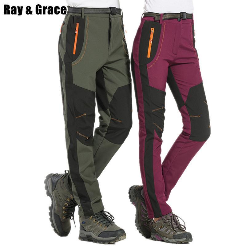 8d3e0ccd55 Compre RAY GRACE Pantalones De Trekking A Prueba De Agua De Los Hombres  Pantalones De Invierno Al Aire Libre De Los Hombres De Lana Senderismo Caza  Pesca ...