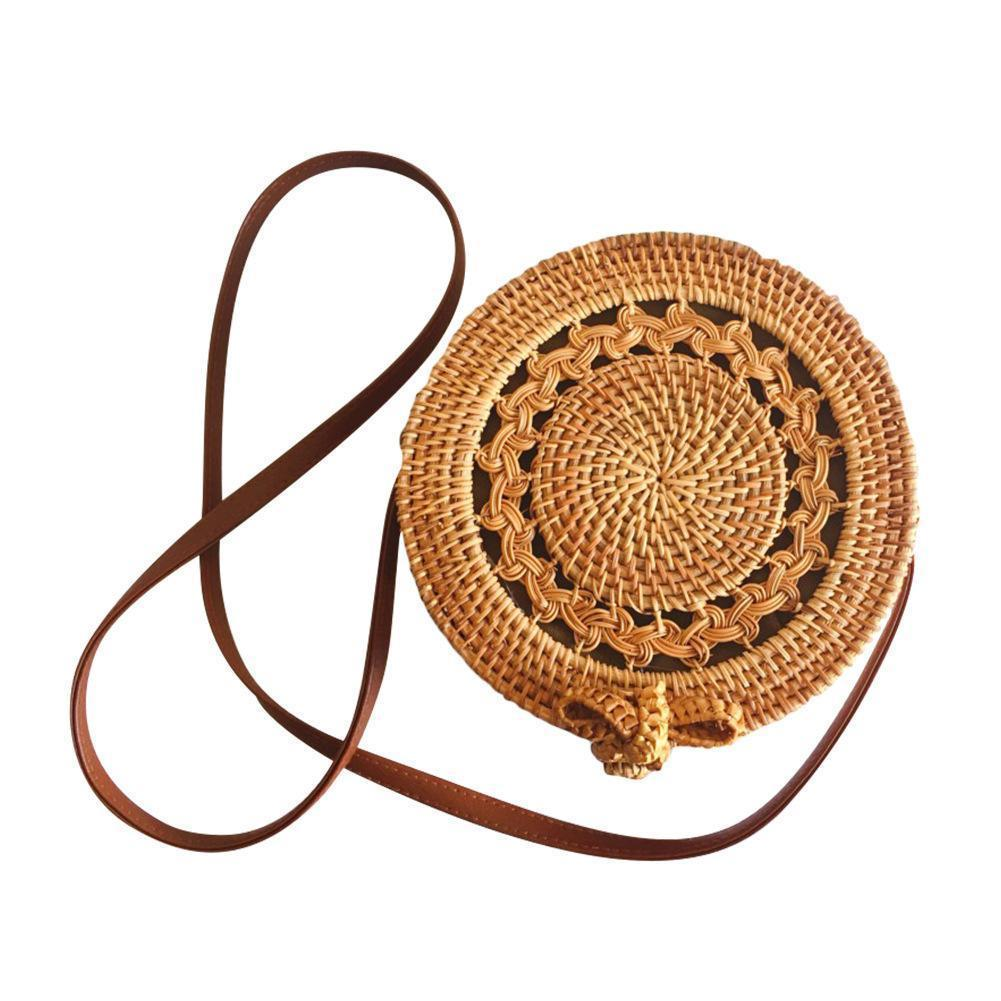 cdf4ab9a2da7 Handmade Rattan Woven Round Bag Cutout Vintage Bohemia Single Shoulder Bag  Natural Women S Fashionable Beach Bags Brand New Laptop Bags Briefcase From  ...
