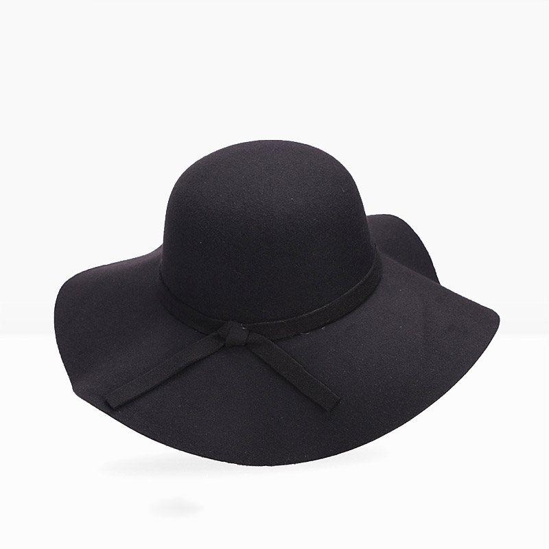 2019 Women Vintage Wool Fedora Hat Elegant White Autumn Winter Warm Korean  Fashion Wide Brim Female Solid Black Red Basic Bowler Hats From Naughtie d0b1538a807
