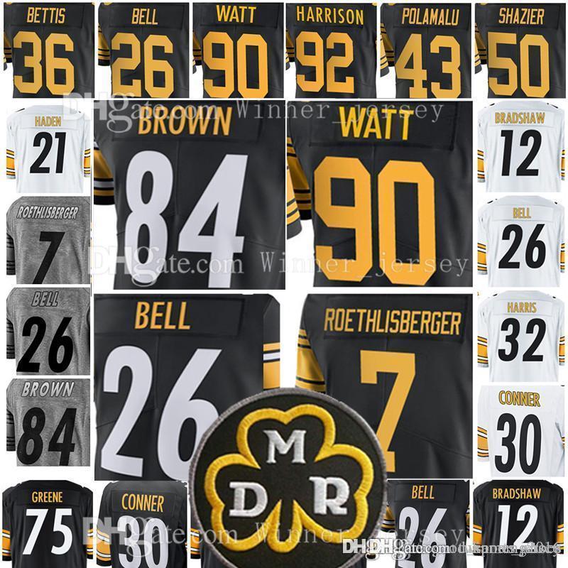 5e1489513 Pittsburgh 84 Steeler Antonio Brown 26 Bell 90 T.J. Watt Jersey 7 ...