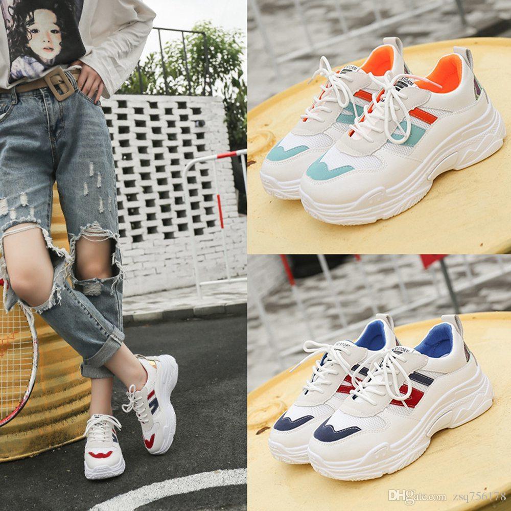 selezione premium 671d8 20795 2019 nuove scarpe da donna primavera e l'estate piccole scarpe bianche  scarpe sportive traspiranti moda casual piattaforma selvaggia