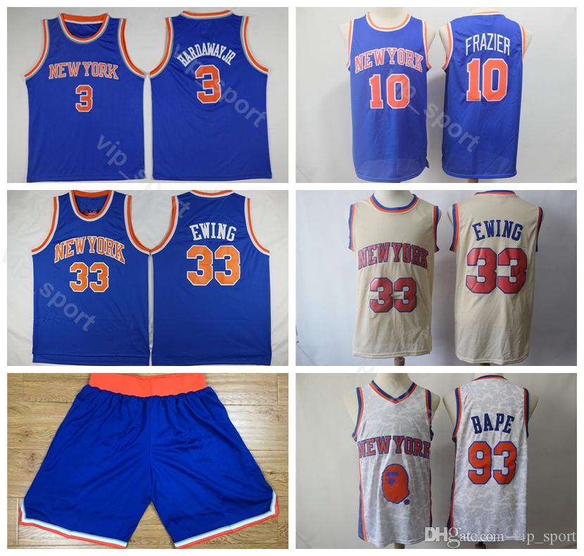 on sale 95a59 91e13 Men Sale Patrick Ewing Jersey 33 Short New York Basketball Knicks Tim  Hardaway Jr Jerseys 3 Walt Frazier 10 Sport Blue White