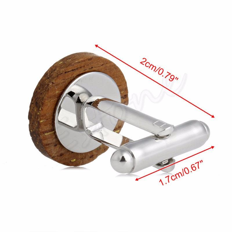 Mens Funky Wooden Button Cufflinks Vintage Style For Party Wedding Gift