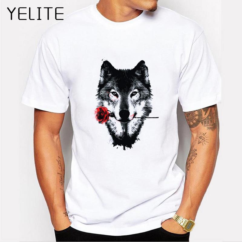 0c20213b9b Compre YELITE 3D Lobo Cão Subiu T Shirt Dos Homens Brancos Verão Homem Lobo  Engraçado T Shirt Casual Branco Hip Hop Animais Camisa Plus Size 4XL Tees  De ...