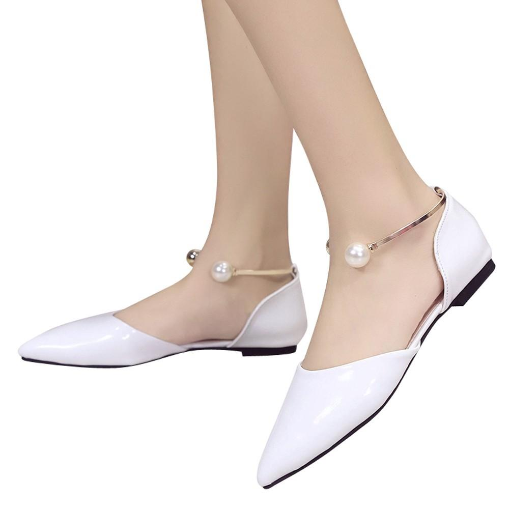 395f32b976 2019 Hot sale Shallow Mouth Single Shoes Female Metal Foot Ring Pearl  Pointed Shoes Shoes for dropshipping