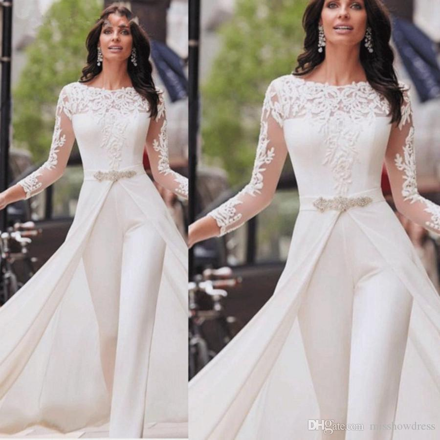 2020 Modest Long Sleeves Lace A Line Wedding Dresses Jumpsuit Chiffon Applique Ruched Wedding Bridal Gowns robe de mariée With Over Skirt