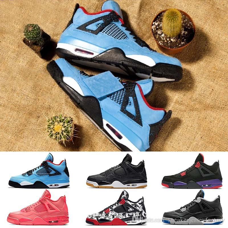 79795a944c6bf9 2019 Travis Scott Shoes Womens Basketball 4s IV Hot Lava Punch Pure Money  Raptors Bred Tattoo Singles Day Pizzeria Black White Mens Sneaker Brand  From ...