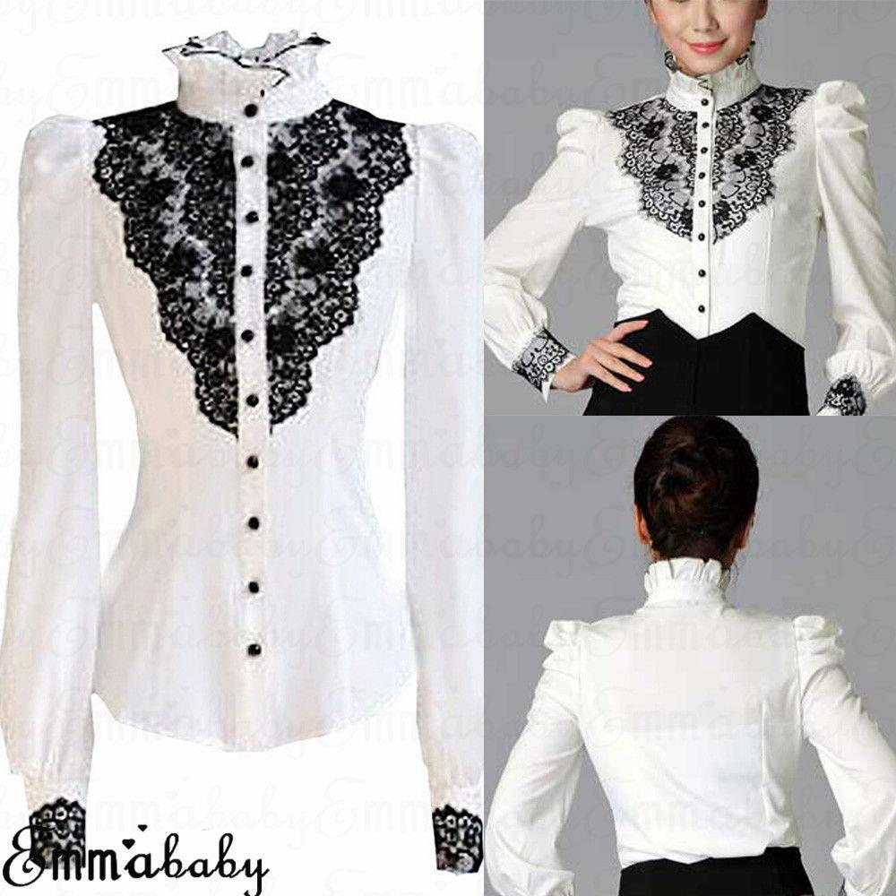 def57925093 2019 New Women Shirts Career Long Sleeve Shirt Stand Collar Button Blouse  Office Tops Vintage Lace Shirts Fashion From Linql01, $14.16 | DHgate.Com