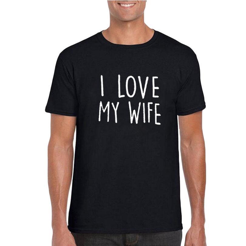 5ecce48a1a Compre Eu Amo Minha Esposa Camisa Engraçada Dos Homens T Preto E Branco  Moda Camiseta Aniversário De Casamento Presente Do Dia Dos Namorados Legal  Ditado Do ...