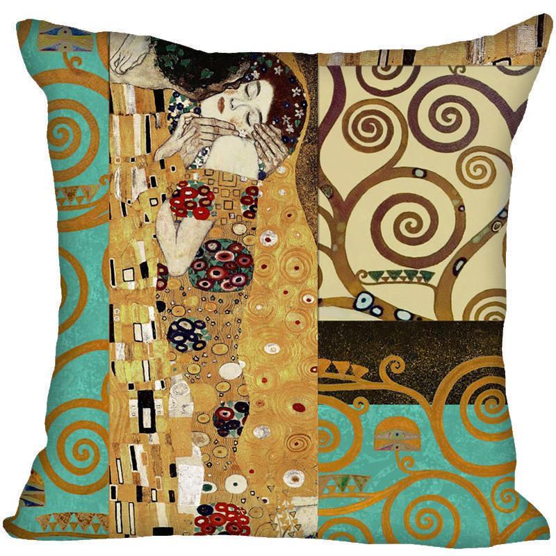 High Quality Gustav Klimt Style Throw Pillowcase Square Pillow Cover Custom Gift 40x40cm C19041301 Cheap Pillowcases Throw Pillow Cases From Mingjing02, ...
