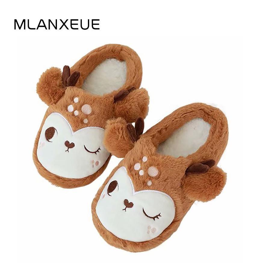 Acheter Noël Sika Deer Plush Pantoufles Cartoon Animal Semelle Souple Femme  Coton Pantoufles 3D Animal Peluche Lady Coton Chic Chaussure De  22.51 Du  Juiccy ... c23bc3c09766