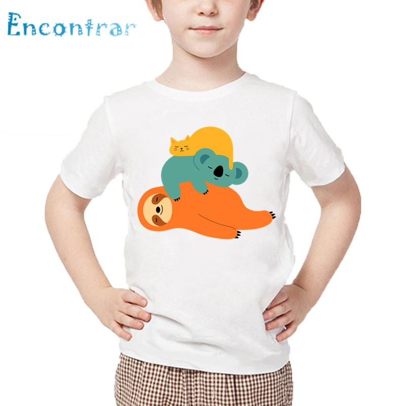 Kids Cute Sloth Sleeeping Print T shirt Baby Summer Short Sleeve Tops Boys and Girls Casual White T-shirt,HKP5559
